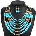 Jewelry Set African Beads Colored Party Fashion design Women Nigerian Wedding Necklace and Earrings sieraden bridal sets 2017