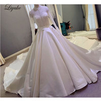 Elegant Lustrous Satin Chapel Train Plus Size A Line Wedding Dress Full Sleeves Lace With Button Bride Dresses robe de mariage