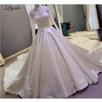 Elegant Lustrous Satin Chapel Train Plus Size A Line Wedding Dress Full Sleeves Lace With Button Bride Dresses robe de mariage