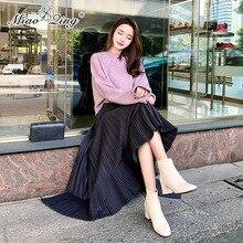 83d6c4d7df83ae MIAOQING elasticity High Waist Long Skirt Women irregular Pleated Skirts  Black Casual Fashion Korean Skirt Ladies