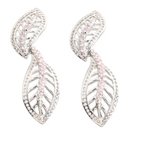 Leaf Shape Pink Kunzite 2 2mm Semi Precious Silver Cool For Womens Stud Earrings ED0396