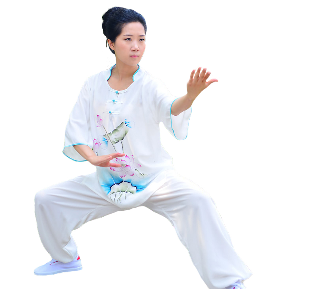 Ladies Cotton Rayon Summer Short Sleeve Taichi Clothing Practice Costume Lotus Print Wushu Suits