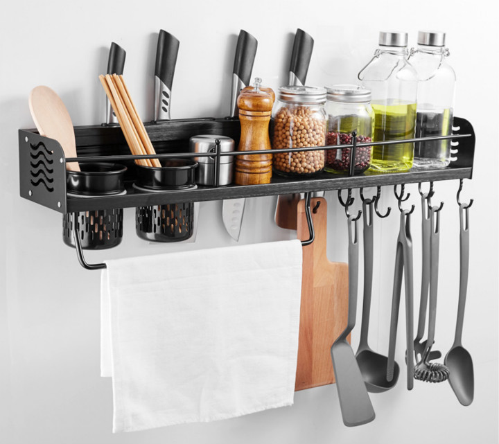 Kitchen Storage Shel Wall-mounted Condiment Seasoning Shelf Knife Holder Wall Mounted Pan Pot Rack Spice Rack Towel Rack 50 cmKitchen Storage Shel Wall-mounted Condiment Seasoning Shelf Knife Holder Wall Mounted Pan Pot Rack Spice Rack Towel Rack 50 cm