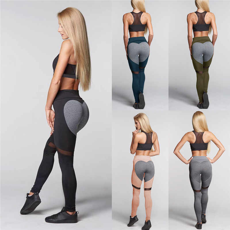 0e8ae168542fd3 ... Womens Heart Gym Sports Athletic Running Leggings Fitness Pants Hips  Push Up Elasticity Patchwork Stretch Jogger ...