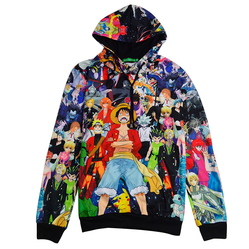 2017 Anime cosplay Monkey D. Luff cos Spring and Autumn Full color printing All kinds of cartoon characters Hedging hooded sweat