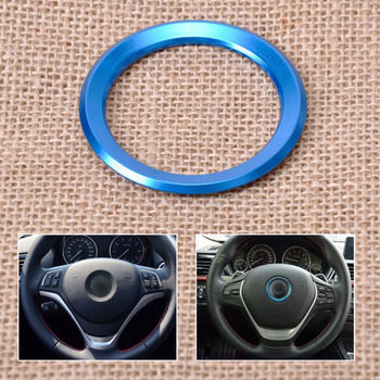 DWCX Blue Car Steering Wheel Center Decoration Ring Trim Cover For BMW 1 3 4 5 7 Series M3 M5 GT3 GT5 X1 X3 X5 X6 2013 2014 2015 image