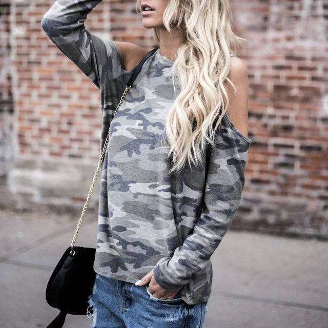 Women Sexy Long Sleeve Off Shoulder Camouflage T-shirt Casual oose T-shirts Spring Autumn Tops FS99 2