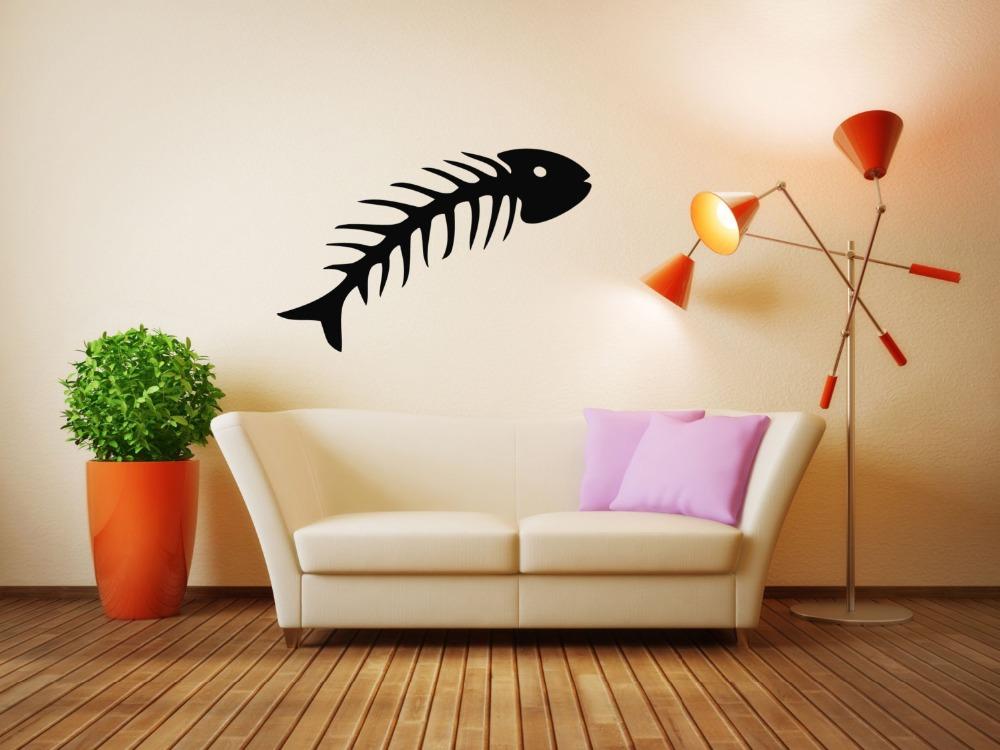 animales del mar peces esqueleto huesos crneo tatuajes de pared vinilos decorativos patrn de diseo especial