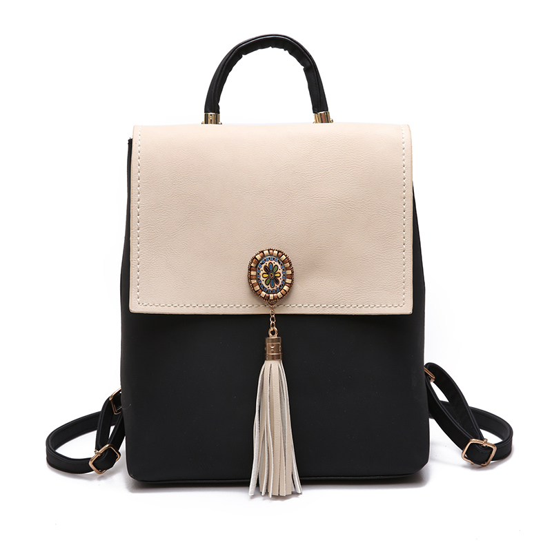 JOYPESSIE Tassel Women Small Backpack PU Leather Backpack Cute School Bags for Girls Fashion Shoulder Bag Female Backpack mochila women fashion high quality small travel bags lady cute black pu leather backpack with solid bag teenager cute backpack