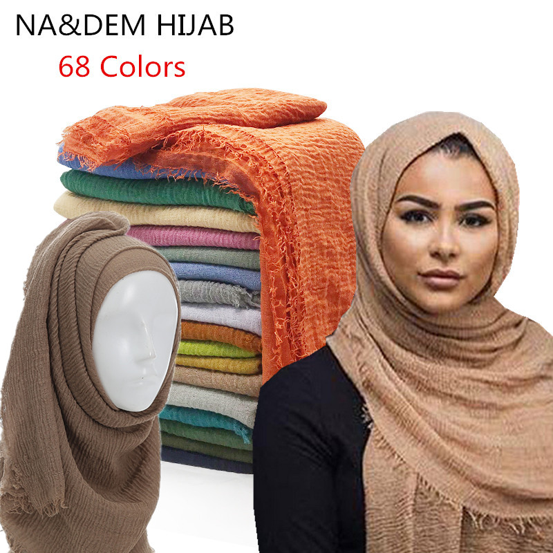 Women Maxi Solid Scarf Bubble Plain Muslim Hijab Scarves Pashmina Foulard Shawls Bandana Fashion Head Scarf Big Shawls And Wraps