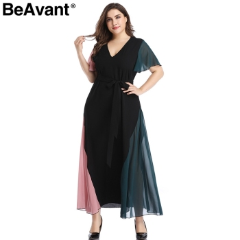 BeAvant Elegant v neck plus size dress women Black butterfly sleeve summer female maxi dress Casual party club ladies dresses