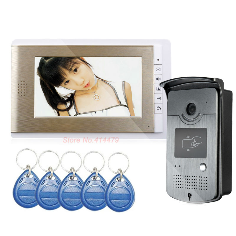 Wholesale Wired 7 inch Color Video Door Phone Intercom System ID RFID Keyfobs IR Outdoor Camera TFT Monitor