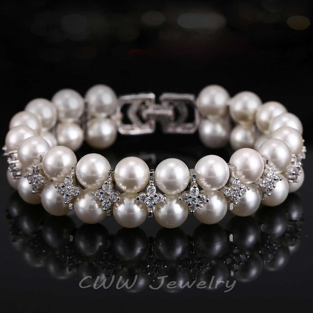 CWWZircons Handmade Wedding Pearl Jewelry Double Rows Cubic Zirconia Setting Big Bridal Bracelets Bangle for Women CB157