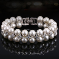 Handmade Wedding Pearl Jewelry Double Rows Cubic Zircon Diamond Big Bridal Bracelets For CB157