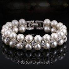 Hecho a mano de La Perla de La Boda Doble Filas Cúbicos Circón Diamante Simulado Nupcial Grandes Brazaletes de las Pulseras Para Las Mujeres CB157