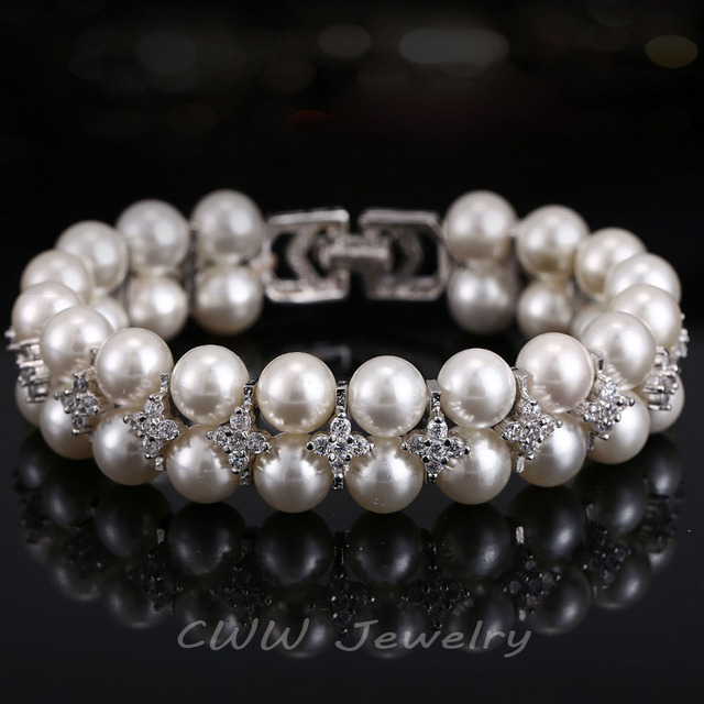 Handmade Wedding Pearl Jewelry Double Rows Cubic Zircon Simulated Diamond Big Bridal Bracelets Bangles For Women CB157