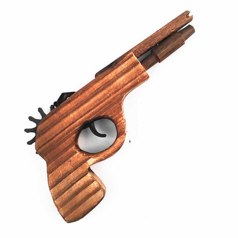 Деревянные детские игрушки пистолет игрушка моделирование пуля резинкой пусковая ручной пистолеты высокое качество и прочный игры стрельба игрушка CL5657
