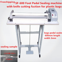 Free shipping SF 600 Pedal sealing machine for plastic bag with the knife cutting function , Pedal Impulse Plastic bag Sealer