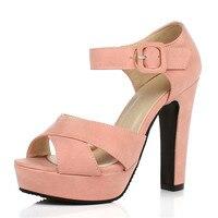 Big Size 34 47 Women Shoes Pumps Sandals Summer Peep Toe Ankle Strap Classics Thick High