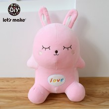 Let'S Make Baby Cartoon Pink Rabbit Cute Plush Toy Doll Baby Comfort Toys Babies Cushion Decoration Pillow Animals Toys Gifts(China)