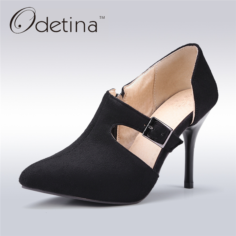 Odetina 2017 New Fashion Handmade Sexy Pointed Toe High Heels Buckle Stiletto Heels Nude Dress Pumps Women Shoes Big Size 34-43