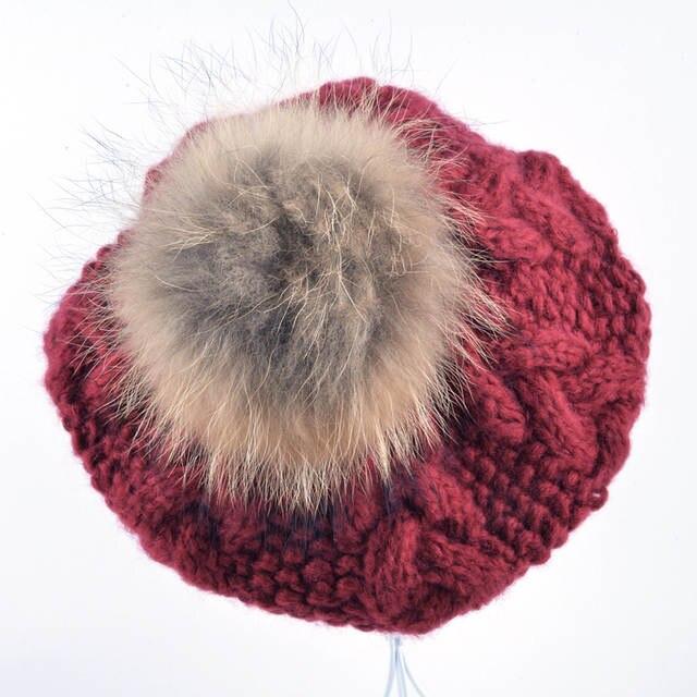 2951e67cb New Winter women hat Berets knit wool pompom beret ladies flat cap bone  gorras Planas boina Real raccoon fur ball hats for women