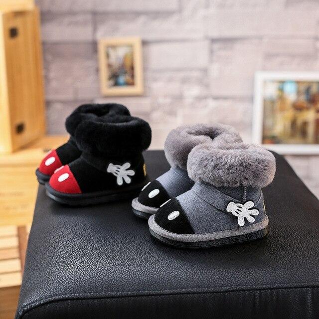 Детские зимние сапоги девушки из натуральной кожи сапоги снега сапоги для девочек с натуральный мех малыша новорожденных девочек зимняя обувь