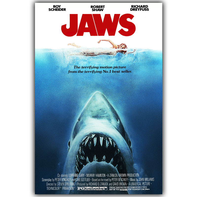JAWS Art Silk Poster Print 30x45cm 50x75cm Movie Pictures Poster Living Room Decor