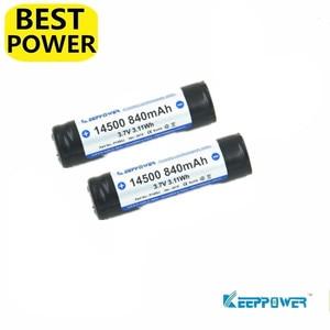 2 pcs Keeppower 14500 840mah 3.7V 3.11Wh protected Li-ion rechargeable battery Original P1450J
