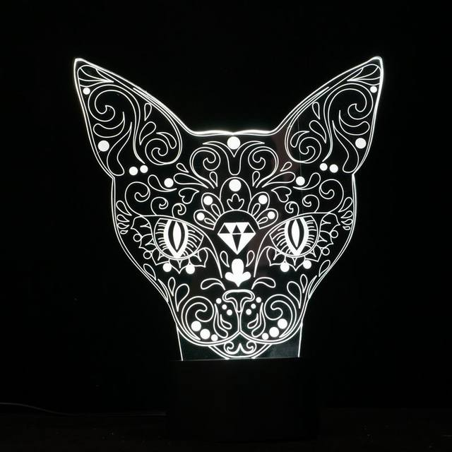 Elegant 3D little Cat Shape Nightlights Sensor Switch Botton Desk Reading Lamp