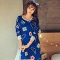 Lo nuevo Ampliar princesa Camisón Nightskirt y el algodón Mujeres de manga larga para las mujeres otoño de la Historieta floja Ocio ropa de las muchachas