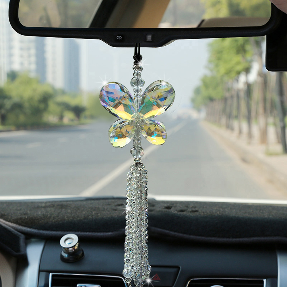 Car interior hanging - Brilliant Car Pendant Crystal Butterfly Hanging Ornament Car Interior Decoration Home Decor China Mainland