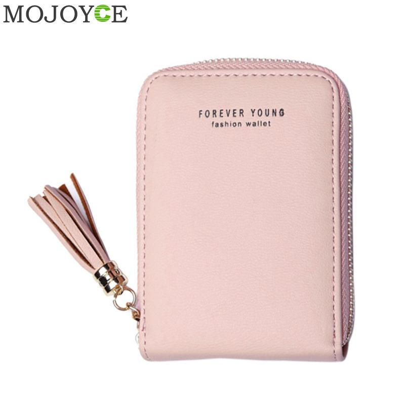 Korean Women PU Leather Card Holder Purse Tassel Pendant Short Card Holder Wallets Zipper Purse Coin Pocket Small Card Holders цена