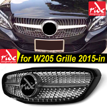 W205 Diamond Style Classic Model Use Front Racing Grill Grille for Mercedes-Benz Black/white/silver/chrome