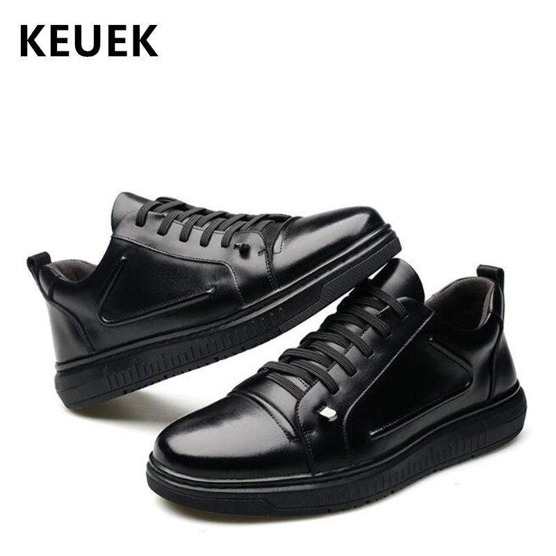 Spring Autumn Fashion Men Flats Genuine leather Comfortable Lace Up Sneakers Male Casual leather shoes 033