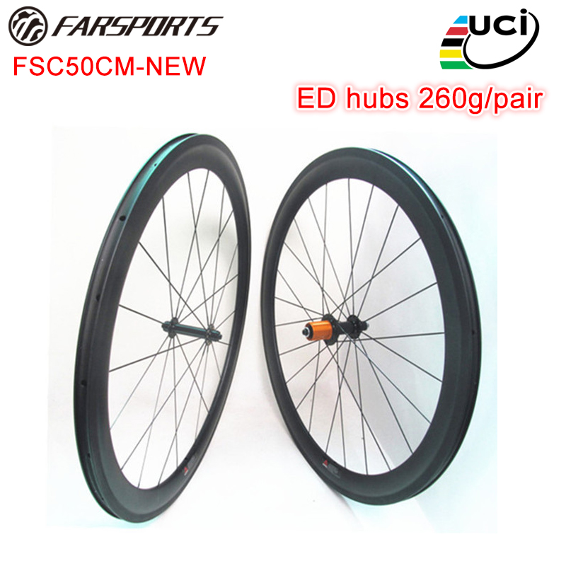 Internal Nipple! 50mm deep Farsports carbon clincher biycle wheels Edhub Sapim cx ray spokes 1330g road wheelsets
