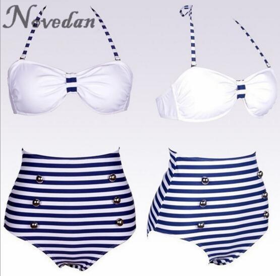 Women's Vintage Retro Halter Navy Blue Stripe Sailor Bikini Set Swimsuit Swimwear Bathing Suit Beach Wear High Waist Bikinis