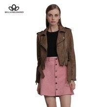 Bella Philosophy Women 2016 new autumn winter zipper turn-down collar faux suede biker jacket coat khaki gray