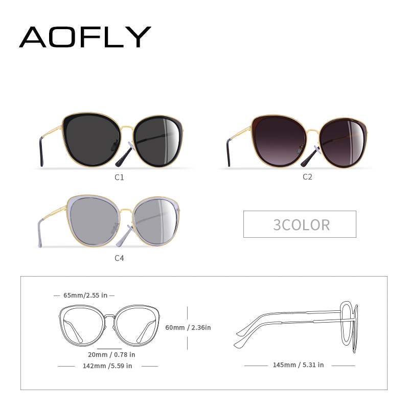 Image 4 - AOFLY BRAND DESIGN New 2019 Cat Eye Sunglasses Women Gradient Lens Polarized Sunglasses Female Metal Temple Goggles UV400 A111Womens Sunglasses   -