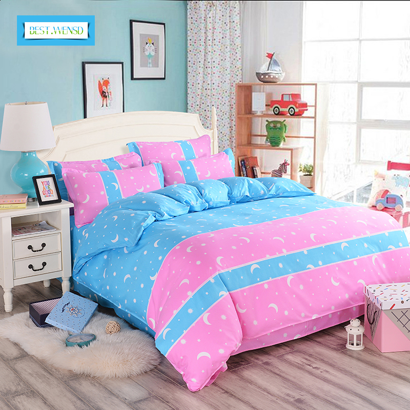 BEST.WANSD twin full queen king  Korean style bed sheet+duvet cover+pillowcase pink bed cover bed linen housse de couette adulte