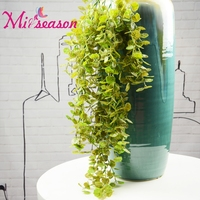 85cm Long Artificial Begonia Rattan Hanging plastic Green ivy leaves Fake Foliage Leaves Home Wedding Water Pipes Decor