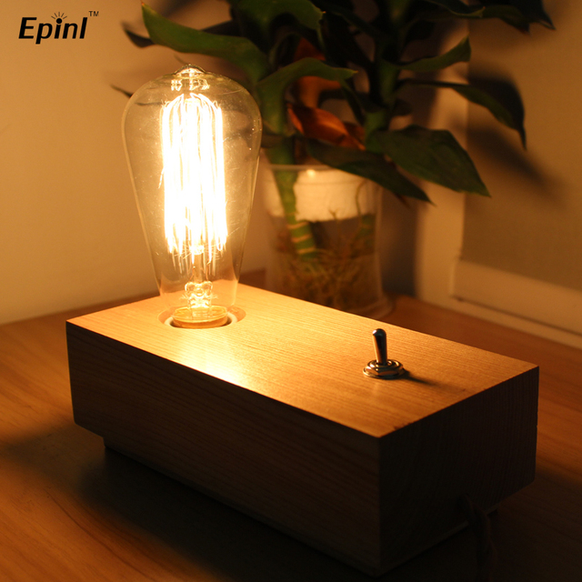 Solid Wood Table Lamp Log Lamp Iron Wood Block Table Lamp In Table