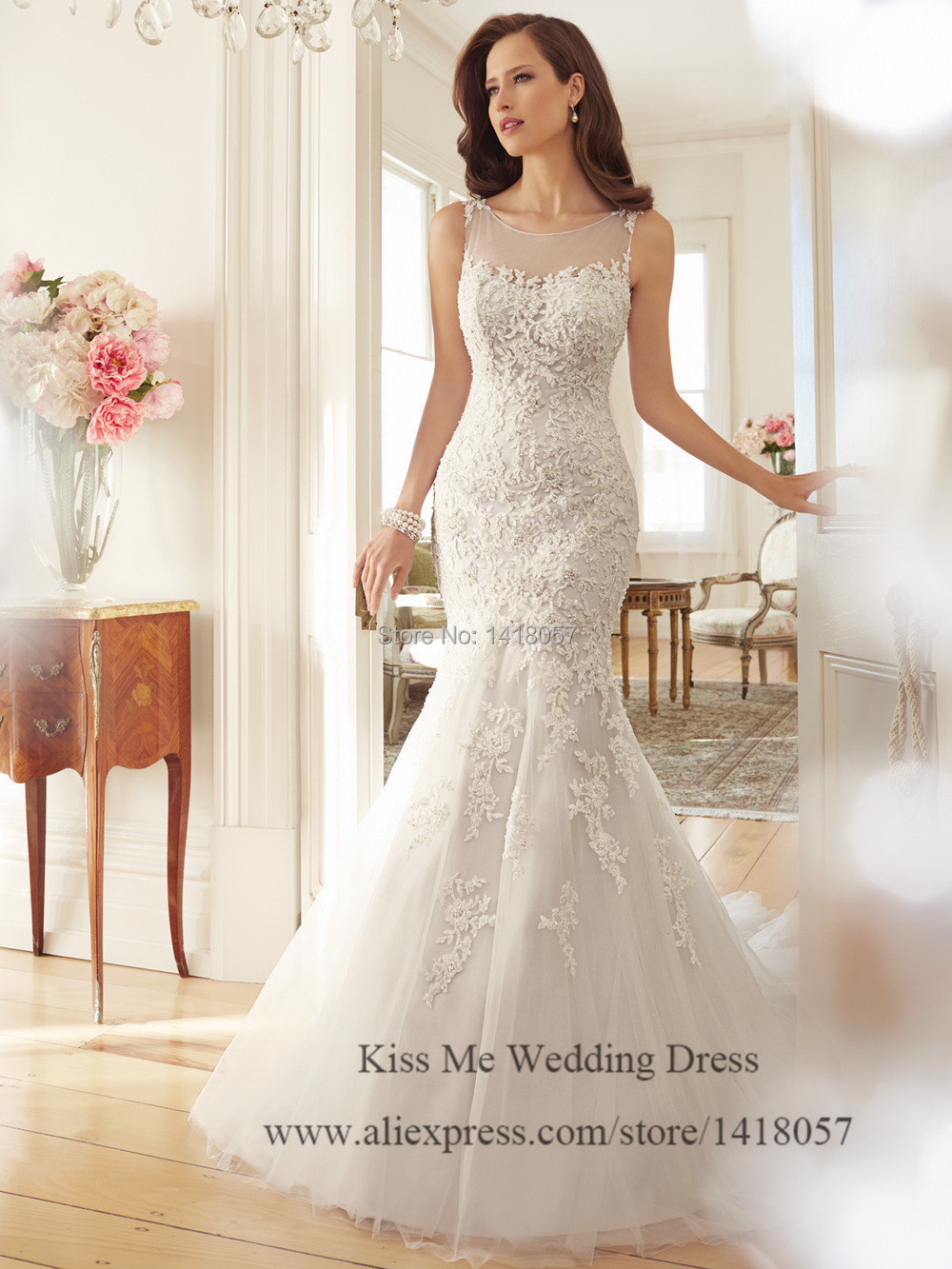 Aliexpress.com : Buy Latest Design Lace Wedding Dress 2015 Mermaid ...