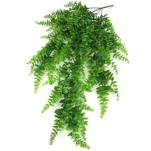 Image 3 - Sztuczne tworzywo sztuczne perskie liście drzewa paprociowego plastikowa zielona imitacja roślin sztuczne liście rattanowe klasyczne dekoracje do domu