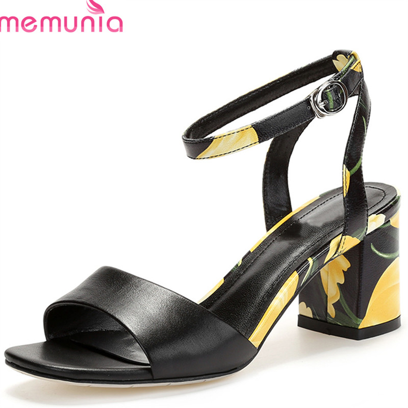 MEMUNIA 2018 new arrive women sandals fashion mixed colors summer shoes genuine leather casual party shoes high heel shoes woman memunia 2018 new arrive women summer sandals sweet bowknot casual shoes simple buckle comfortable square heele shoes woman