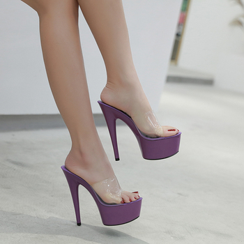 376d269b4 2019 zapatillas de verano 6 Color rojo blanco negro zapatos de plataforma  de mujer Sexy discotecas T etapa muestra de tacón alto 15 cm plus-tamaño  34-41