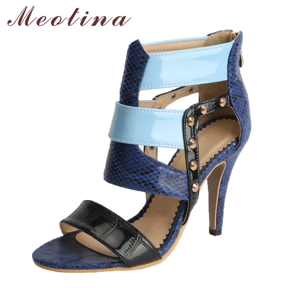Meotina Women Sandals High Heels Peep Toe Gladiator Shoes Summer Thin Heels Sexy Shoes Blue 2018 Zip Stiletto Plus Size 33-46 45 enmayer summer women fashion sandals pumps shoes rhinestone peep toe zip thin heels platform large size 34 43 black orange green