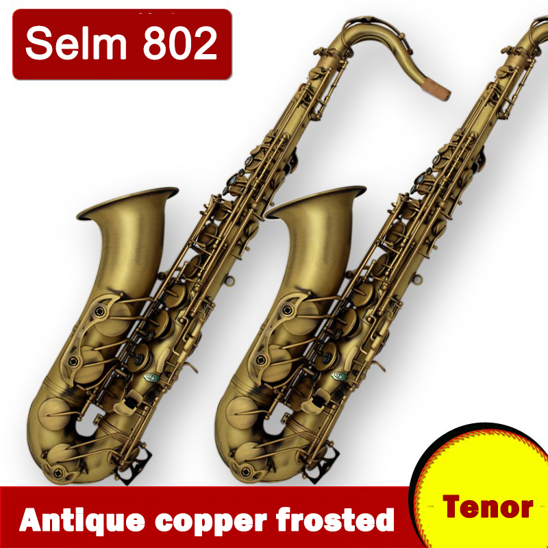 France Tenor Saxophone Salme STS 802 Bb falt Saxofone Musical Instruments Professional Sax Antique Copper Simulation mouthpiece professional play h68 phosphor bronze copper bb saxphone falling tune b bakelite mouthpiece head sax straight saxophone in bb