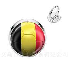 Belgium,Brazil,Mexico,Morocco,Peru,Croatia,Korea,Costa Rica Football National Flag Logo 16mm Glass Dome Adjustable Rings(China)