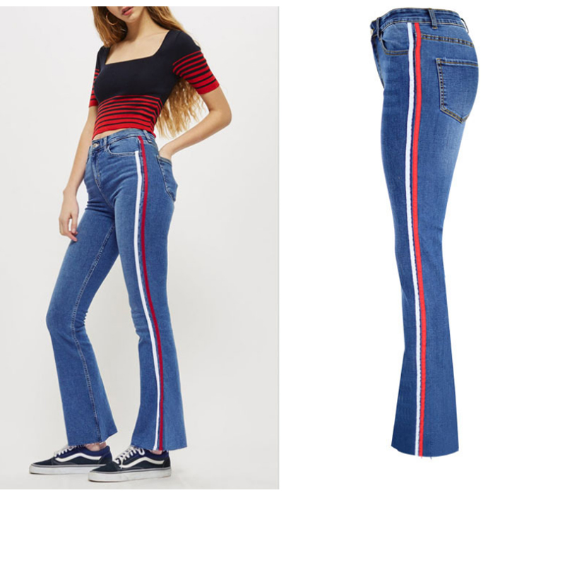 Women Wide Leg Flared Jeans High Waist Bell Bottom Jeans With White/Red Side Stripe Plus Size Stretch Jeans Push Up Denim long